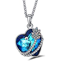 Caperci Swarovski Elements Crystal Heart Pendant Necklace