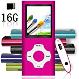 Tomameri - Portable MP3 / MP4 Player with Rhombic Button, Including a 16 GB Micro SD Card and Support Up to 64GB, Compact Music, Video Player, Photo Viewer Supported - Pink