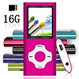 Tomameri - MP3 / MP4 Player with Rhombic Button, Including a 16 GB Micro SD Card and Maximum support 32GB, Compact Music & Video Player, Photo Viewer, Video and Voice Recorder Supported - Pink