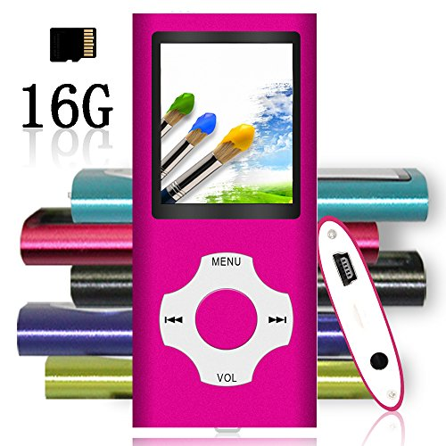 Tomameri – MP3 / MP4 Player with Rhombic Button, Portable Music and Video Player, Including a 16 GB Micro SD Card and Maximum Support 64GB, Supporting Photo Viewer and Video – Pink