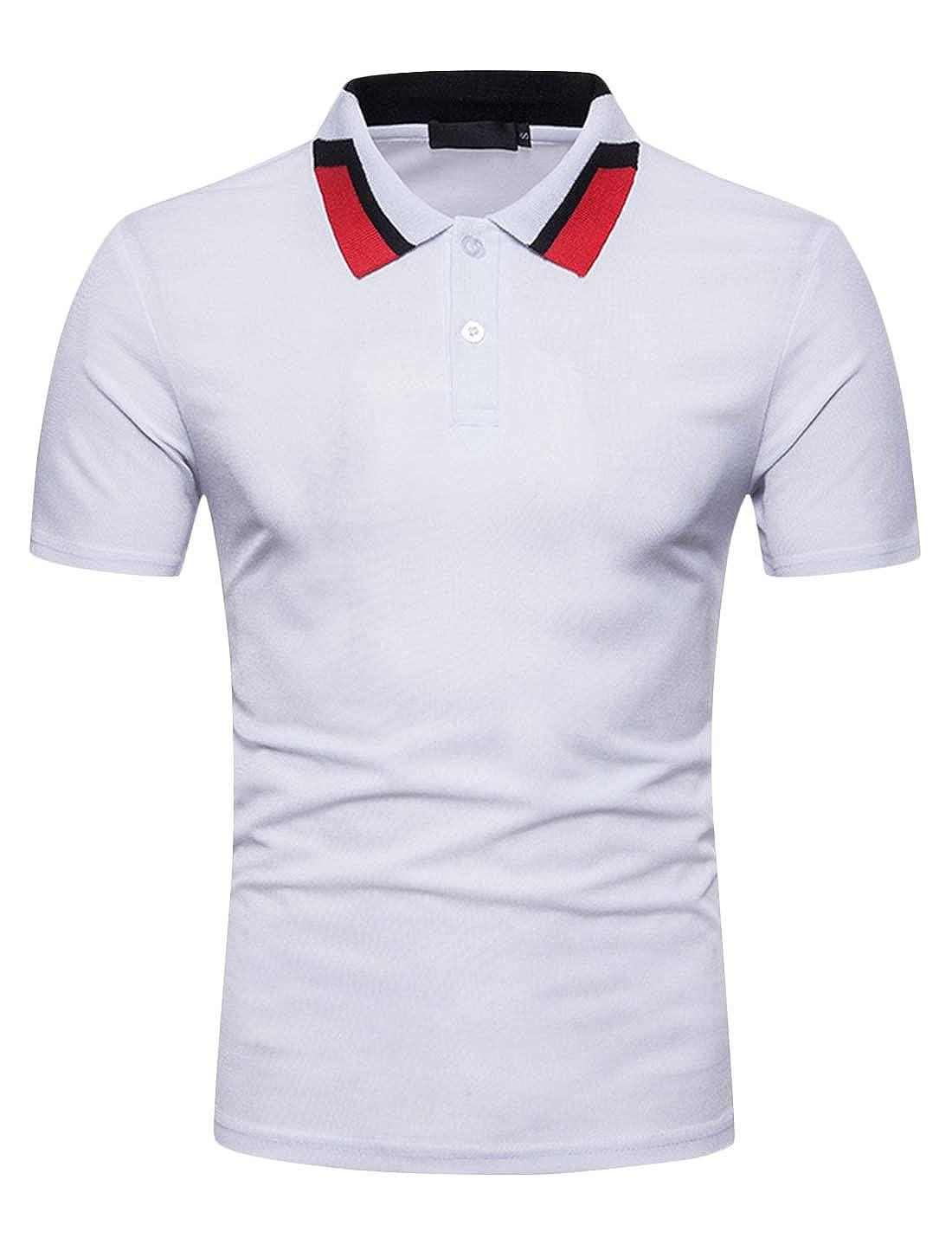 Springrain Mens Summer Stylish Slim Fit Short Sleeve Polo T-Shirt