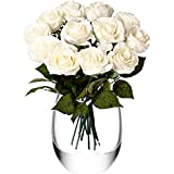 Feyarl® 12-Piece 17.4 inch Premium Material Real Touch Artificial Flowers Roses for Wedding Party (Vase is not included) - (White)