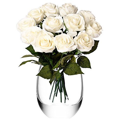 - Feyarl Artificial Flowers Roses Bouquet 12-Piece 17.4inch Real Touch Fake Roses for Bridal Wedding Home Deco (Vase Not Included)(White)