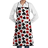 Poker Playing Card Adjustable Unisex Bib Apron with 2 Pockets Lock Edge Garden Apron Chef Apron Cooking Baking Kitchen Pinafore Aprons for Men's Women's