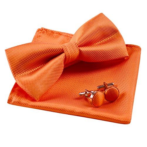 Bowties Orange (Mens Solid Formal Banded Pre-tied Bow Ties Set-Orange)