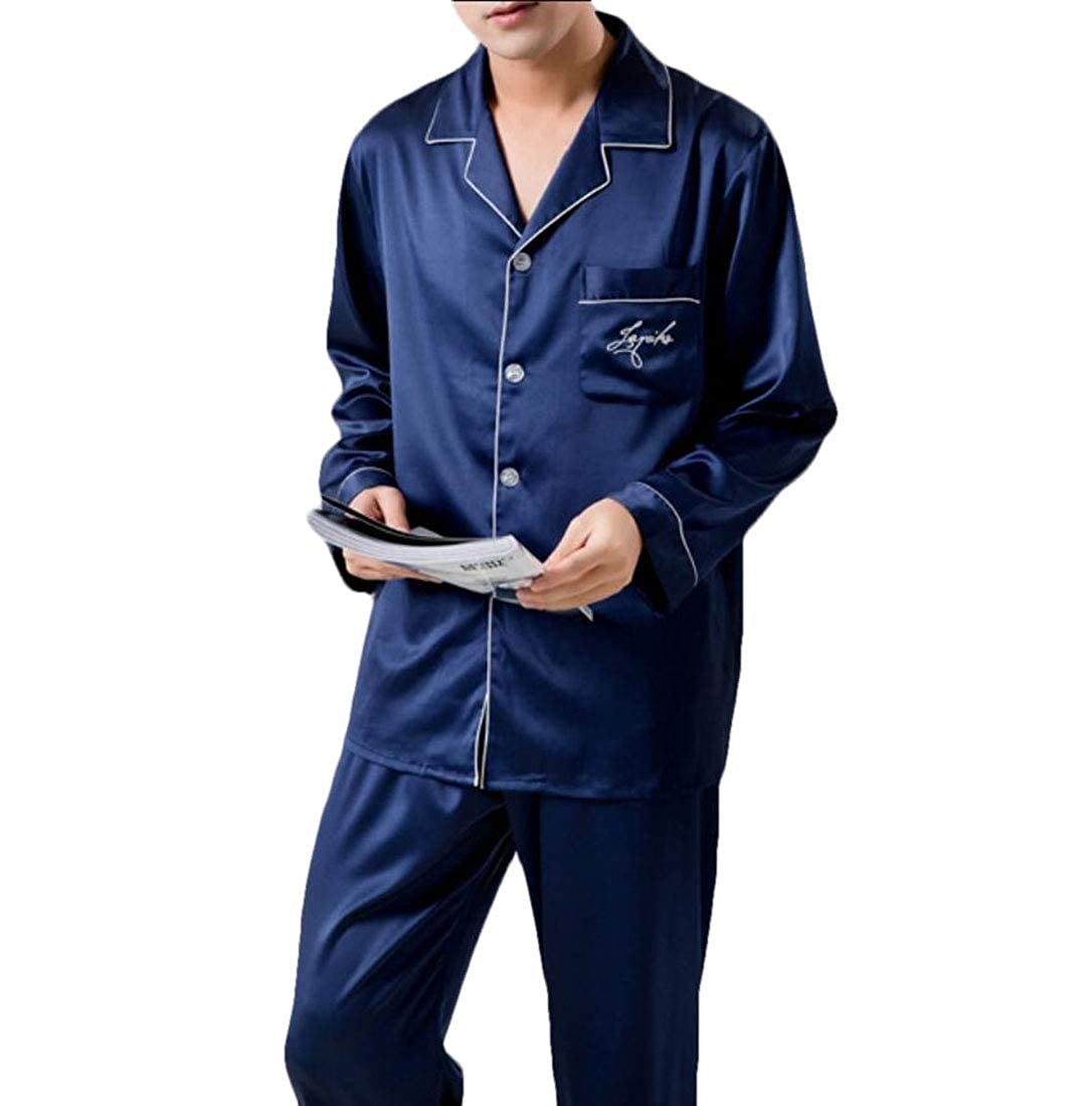 WSPLYSPJY Men Sleepwear Silk Pajama Sets Pajama Shirt and Pant Satin Loungewear
