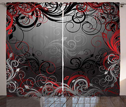 Ambesonne Red and Black Curtains, Mystic Magical Forest Inspired Floral Swirls Leaves Nature Artwork, Living Room Bedroom Window Drapes 2 Panel Set, 108 W X 63 L Inches, Charcoal Grey Ruby
