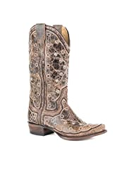 Stetson Western Boots Womens Pita Embroidery Brown 12-021-6105-1008 BR