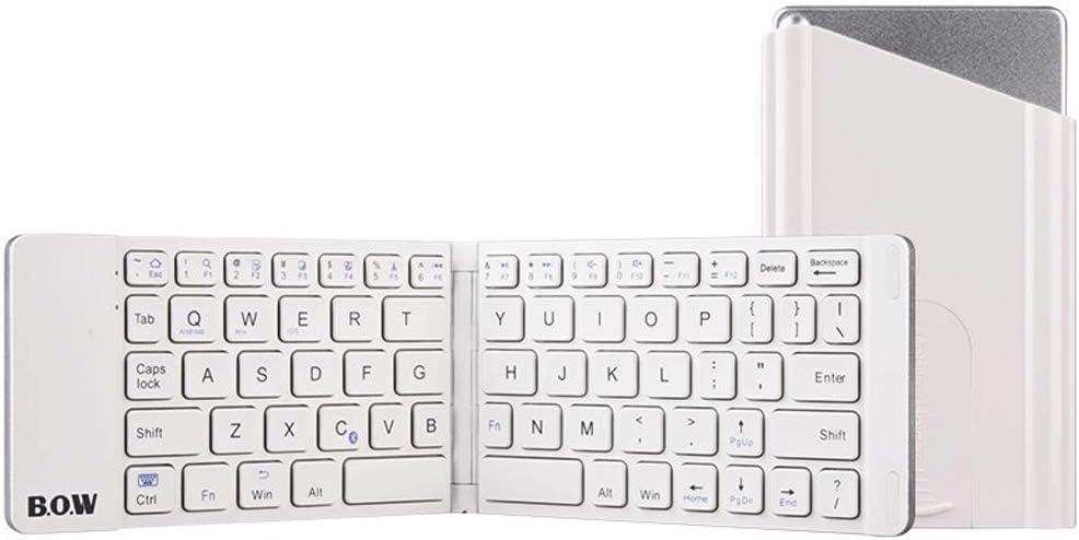 OUKB Teclado inalámbrico inalámbrico Bluetooth Recargable Ordenador portátil Tableta Teléfono móvil Mini Ultrafino Aleación portátil (Color : Ivory White)