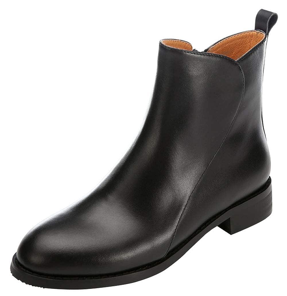 Damen Chelsea Ankle Stiefel Runde Kopf Flache Martin Stiefel Plus Samt Warme Schuhe