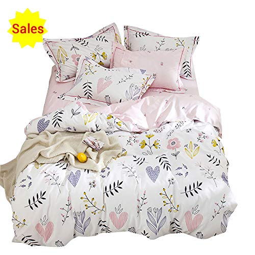 OROA smooth Cartoon Plant Flower make Girls Twin Bedding Duvet Cover Sets Cotton 100 Percent for Kids Toddler Teen Women Colorful Floral undoable Teen Bedding Sets Twin Pink