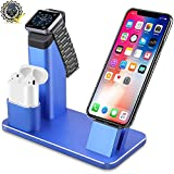 Apple Watch Stand[No need install] - Eliubing Aluminum 5 in 1 Apple Watch iPhone Airpods Charging stand Dock Station for Apple Watch Series 3 2 1 Airpods iPod iPad iPhone with Various Case-Royal blue