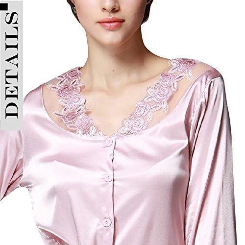 Dolamen Pijamas para mujer, Mujer Satin camisones Pijamas Raso, Bordado de flores de encaje Satén suave y cálido Manga larga y pantalones largos Rosado