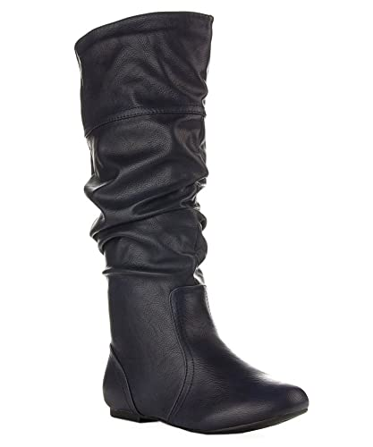 Amazon.com | ROF Women's Classic Slouchy Flat Boots | Knee-High
