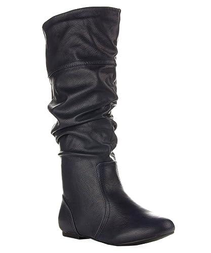 Amazon.com | ROF Women's Classic Slouchy Flat Boots | Knee-High