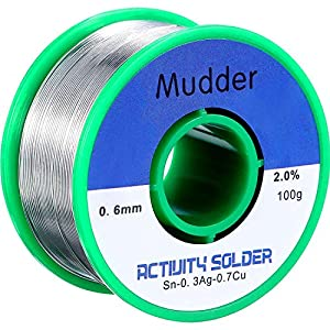 Mudder Lead Free Solder Wire Sn99 Ag0.3 Cu0.7 with Rosin Core for Electrical Soldering 100g by Mudder
