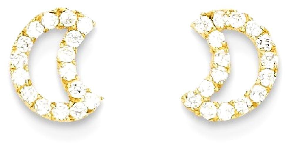 ICE CARATS 14k Yellow Gold Cubic Zirconia Cz Half Moon Baby Post Stud Earrings Celestial Fine Jewelry Gift Set For Women Heart