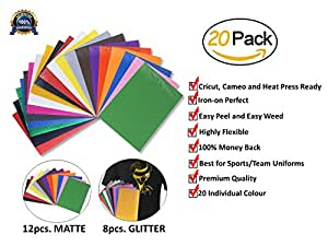 Starter Kit Bundle Easy Peel and Weed Printable Iron-on Heat Transfer Vinyl | HTV A4 Sheets 12 Matte Assorted Colors PLUS 8 Glitter Sheets For T-Shirts, Jerseys and Sports Uniforms (Pack of 20)