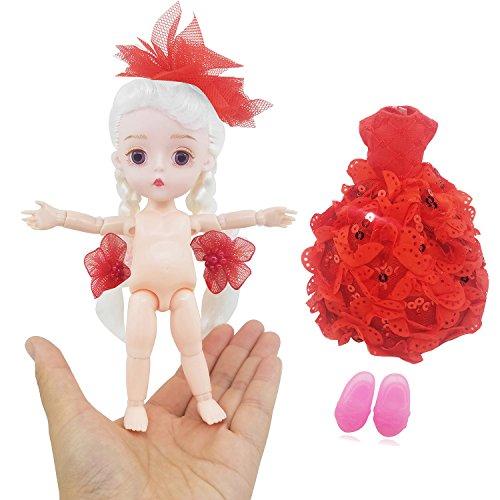 Doigt Fille 1/8 Mignon 15cm 5,9 Pouces Bjd Mini Poupée Poupées Jointives Abs + Robe De Vêtements Pour Cadeau Enfant (rouge)