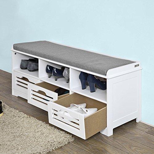 Sobuy storage bench with 3 drawers seat cushion shoe for Scarpiera bassa