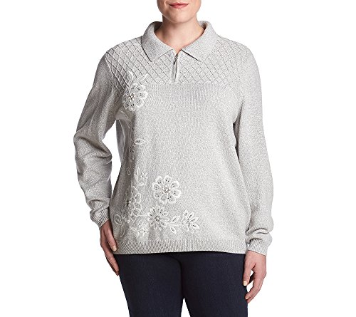 Alfred Dunner Sweater (Alfred Dunner Plus Size Quarter Zip Sweater 1X)
