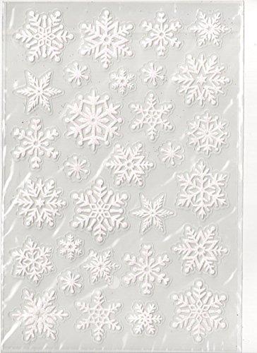 Snowflake Glitter Stickers - White Glitter Snowflake Stickers - Clear Back