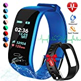 8. Fitness Tracker, Color Screen Activity Tracker Watch with Blood Pressure Blood Oxygen, IP67 Waterproof Smart Band with Heart Rate Sleep Monitor Calorie Counter Pedometer for Men, Women and Kids