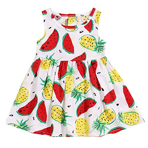 12 Month Fruit - TUEMOS Infant Baby Girl Dress Fruits Print Sleeveless Sundress Princess Summer Vest Dress(12-18 Months) White
