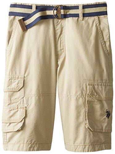 Flap Pocket Striped Shorts - U.S. Polo Assn. Big Boys' Belted Washed Twill Cargo Shorts, Light Khaki, 12