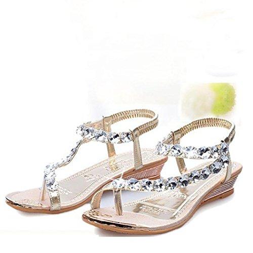 Oro Donna in Elegante Ragazze Scarpe Zeppa Flip Strass Casuale Peep Beauty Estate con Flop Toe Sandali Estivi Sandali Top CFOFqUt