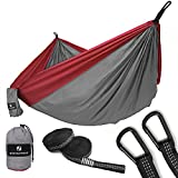 SONGMICS Ultra-Lightweight & Portable Hammock Hold up to 660LB Single & Double Parachute Nylon Camping Hammock Swing Bed 118'' x 78'' for Outdoor Backpacking, Hiking, Yard, Traveling UGDC20GR