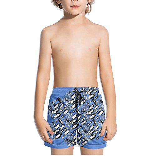 TylerLiu Penguins Cartoon Cute Out Cold Pattern Kids Boy's Fast Drying Beach Swim Trunks -