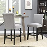Belleze 24'' Dining Chairs Fabric Kitchen Parsons Urban Style Counter Height with Solid Wood Legs Set of 2, Gray