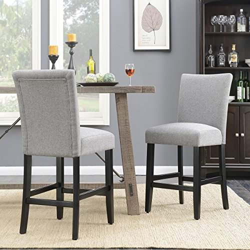 Belleze 24'' Dining Chairs Fabric Kitchen Parsons Urban Style Counter Height with Solid Wood Legs Set of 2, Gray by Belleze