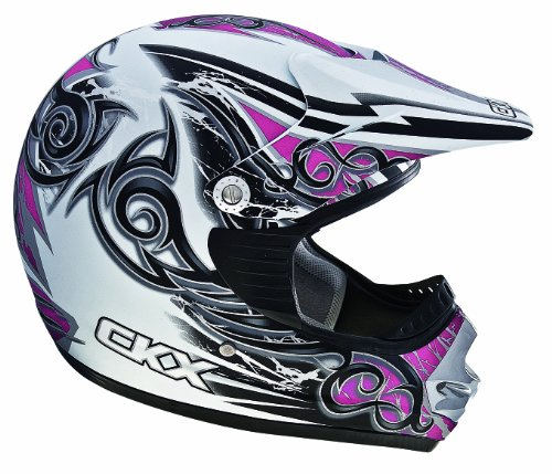 CKX 101682 TX-218 Whip Adult Full Moto Helmet, White/Pink/Silver Matte, Small
