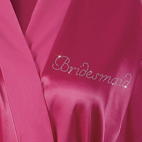 Pink Bridesmaid Satin Rhinestone Bathrobe Wedding Day Personalised Honeymoon Dressing Gown by CrystalsRus