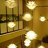 Excelvan DIY Lamp Shades Kit Lotus Light Chandelier IQ PP Lampshade Pendant Hanging Suspension Lightshade for Ceiling Lights Bedroon Living Room DIA:53CM (White)