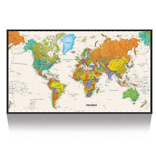Kreative Arts Large Size World Map Wall Art Black Floater Frame Art Print Picture Wall Decor Home Interior Map Picture Framed for Office Wall Decor Clearly Visible Words 55x32inch