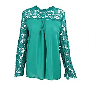 SODIAL(R)Autumn New Style Casual Women's Green Lace Chiffon Flower Hollow-out Long Sleeve Blouse Ladies Tops Blouses 5XL