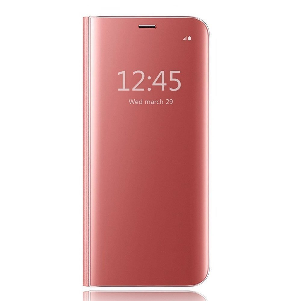 Sycode Luxe Screen Protector Rose Rouge Slim Fit Transparente Standing View Miroir Portefeuille Housse Coque pour Xiaomi Redmi 5 Plus