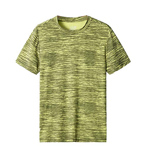 Men's Casual T Shirts Summer Crewneck Short Sleeve Fast-Dry Tee Sport Fitness Comfort Breathable Top Green