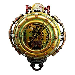 Ebros Gift Steampunk Pressure Chamber with Painted Clockwork and Gearwork Decorative Wall Clock Figurine 11″ H Time Clocks Home Decor Accessory Victorian Science Fiction Sci Fi Halloween Time Prop