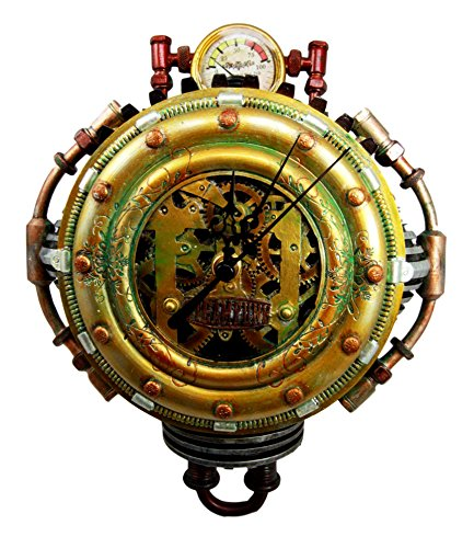 """Ebros Gift Steampunk Pressure Chamber with Painted Clockwork and Gearwork Decorative Wall Clock Figurine 11"""" H Time Clocks Home Decor Accessory Victorian Science Fiction Sci Fi Halloween Time Prop 3"""