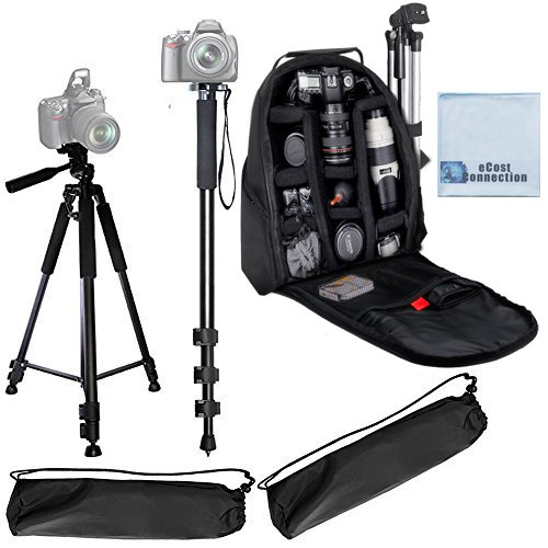 """72"""" Inch Elite Series Full Size Camera Tripod + Pro Series 72"""" Monopod w/ Quick Release + Camera Backpack for DSLR Cameras/Camcorders & eCostConnection Microfiber Cloth"""