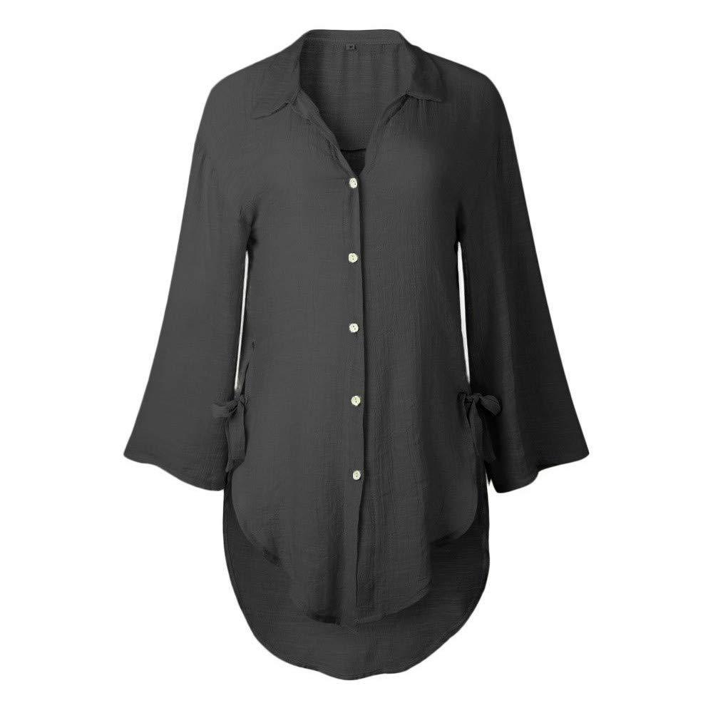 SEHRGUTGE Damen Sommer Casual Loose V-Ausschnitt Button Down 3//4 Bell Sleeve Tuniken Shirt Kleid Damen Baumwolle Leinen Split Hem T-Shirt Bluse Tops Gr/ö/ße 36-48 EU