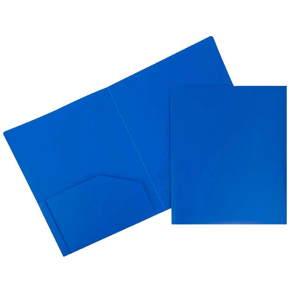 JAM Paper Heavy Duty Plastic Two Pocket Presentation Folders - Blue - 108/pack
