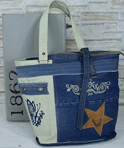 Sunsa große Damen Jeans Tasche Badetasche Schultertasche Handtasche Shopper aus Canvas / Segeltuch