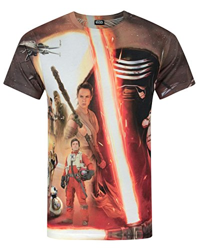 Official Star Wars Force Awakens Heroes & Villains Sublimation Men's T-Shirt (M) (Heroes And Villains Clothing)