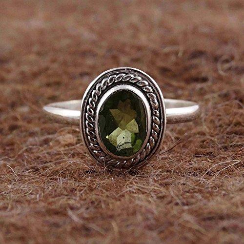 Banithani 925 argent sterling cadeau bande de bague péridot facettes de pierres précieuses de bijoux pour elle