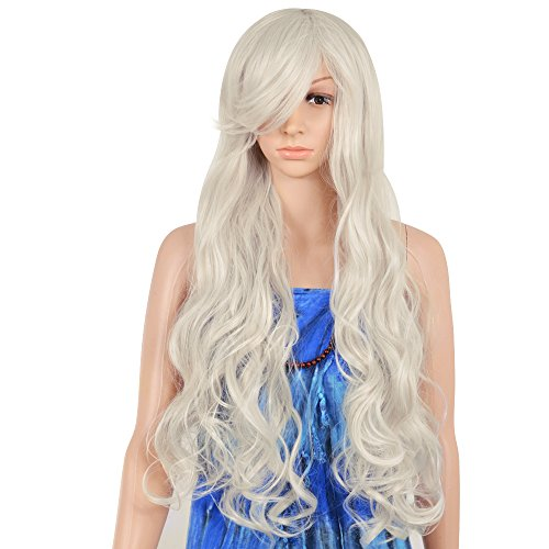 [Krodi New Fashion Long Wavy Wig/Hair Cosplay Wig Long Big Curly Wig Full Wavy Wig Heat Resistant Wig Costume Party Wig for Women(Silver] (Wavy Guy Costume)